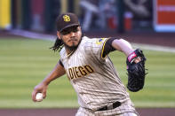 San Diego Padres pitcher Dinelson Lamet throws in the first inning during a baseball game against the Arizona Diamondbacks, Friday, Aug 14, 2020, in Phoenix. (AP Photo/Rick Scuteri)