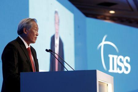 Singapore's Defence Minister Ng Eng Hen speaks at the IISS Manama Dialogue Regional Security Summit in Manama, Bahrain
