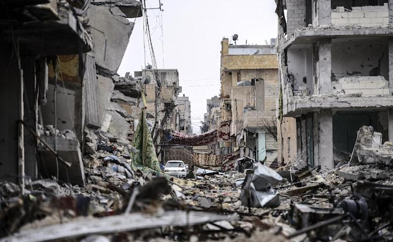 A view of the destroyed Syrian town of Kobane, also known as Ain al-Arab, on January 30, 2015