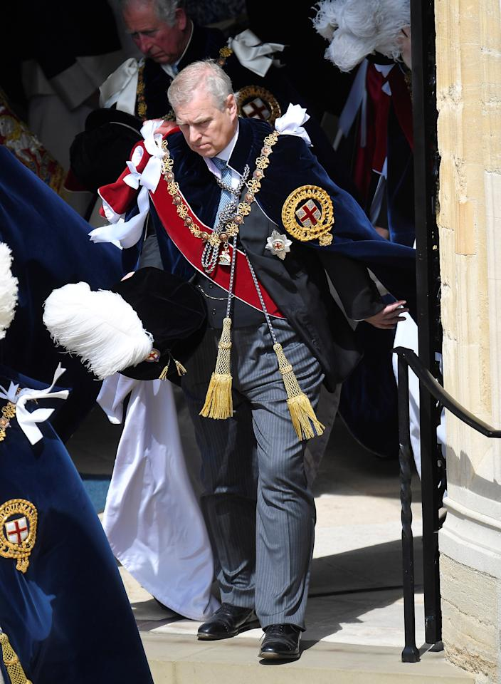 Britain's Prince Andrew departs after attending the Order of the Garter ceremony and service at St. Georges's Chapel in Windsor, Britain, June 18, 2018. REUTERS/Toby Melville