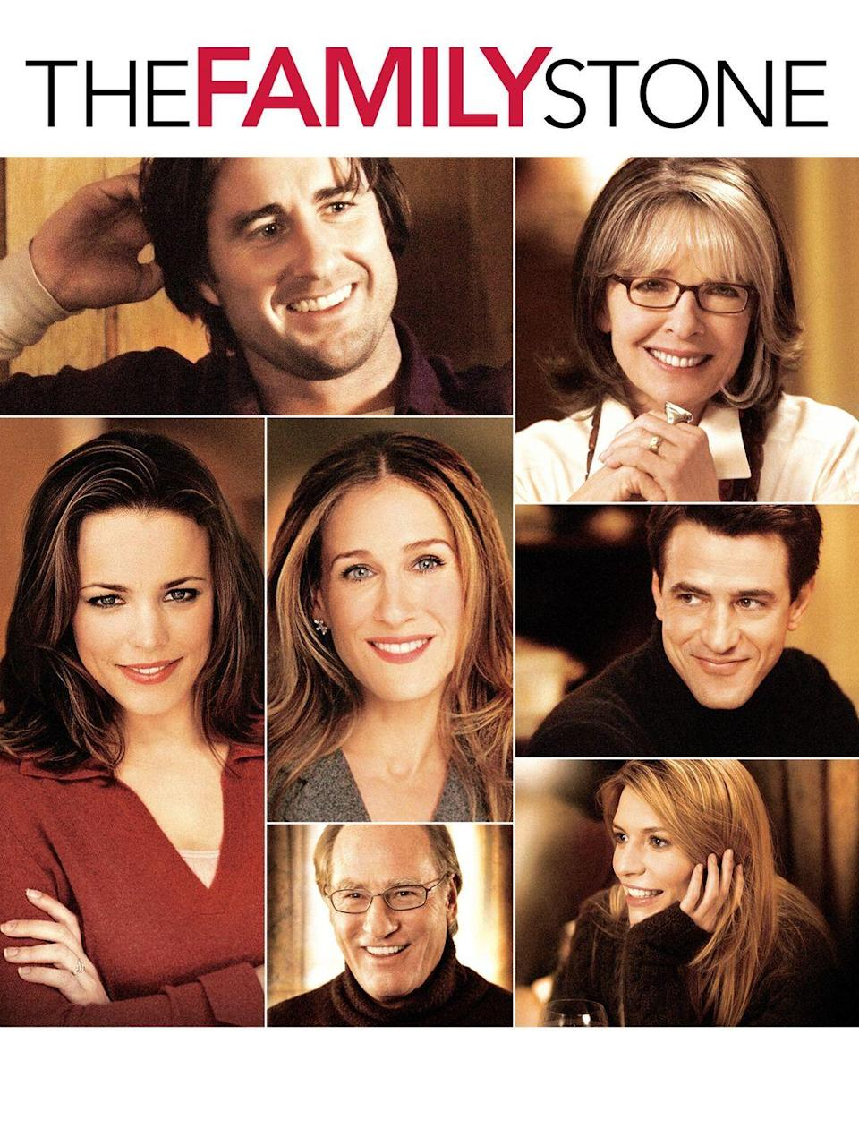 """<p>This 2005 Christmas flick features an all-star cast that includes Sarah Jessica Parker, Luke Wilson, and Diane Keaton.</p><p><a class=""""link rapid-noclick-resp"""" href=""""https://www.amazon.com/Family-Stone-Claire-Danes/dp/B000I9X6T0/?tag=syn-yahoo-20&ascsubtag=%5Bartid%7C10055.g.1315%5Bsrc%7Cyahoo-us"""" rel=""""nofollow noopener"""" target=""""_blank"""" data-ylk=""""slk:WATCH NOW"""">WATCH NOW</a></p>"""