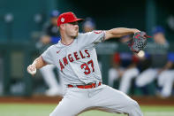 Los Angeles Angels starting pitcher Dylan Bundy (37) throws during the first inning of a baseball game against the Texas Rangers, Thursday, Aug. 5, 2021, in Arlington, Texas. (AP Photo/Brandon Wade)