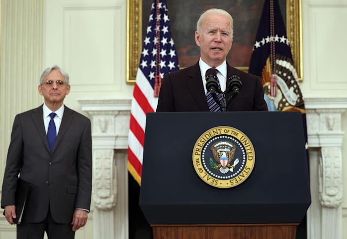 WASHINGTON, DC - JUNE 23: U.S. President Joe Biden speaks on gun crime prevention measures as Attorney General Merrick Garland looks on at the White House on June 23, 2021 in Washington, DC. Biden pledged to aggressively go after illegal gun dealers and to boost federal spending in aid to local law enforcement.  (Photo by Kevin Dietsch/Getty Images) ORG XMIT: 775670281 ORIG FILE ID: 1325125418