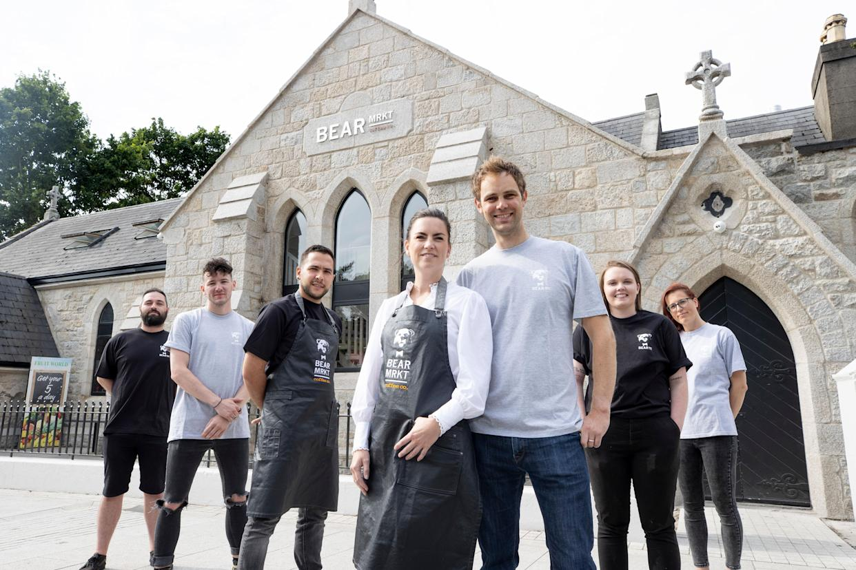 Bear Market Coffee founders Stephen and Ruth Deasy with head barista Gianluca Mereu and their colleagues at their new roastery in a former church in Dublin's Stillorgan (Andres Poveda/PA)