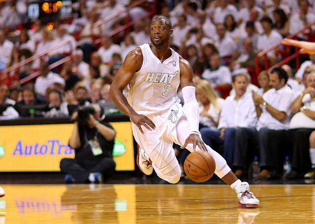MIAMI, FL - APRIL 21: Dwyane Wade #3 of the Miami Heat dribbles during Game 1 of the Eastern Conference Quarterfinals of the 2013 NBA Playoffs at against the Milwaukee Bucks American Airlines Arena on April 21, 2013 in Miami, Florida. NOTE TO USER: User expressly acknowledges and agrees that, by downloading and or using this photograph, User is consenting to the terms and conditions of the Getty Images License Agreement. (Photo by Mike Ehrmann/Getty Images)