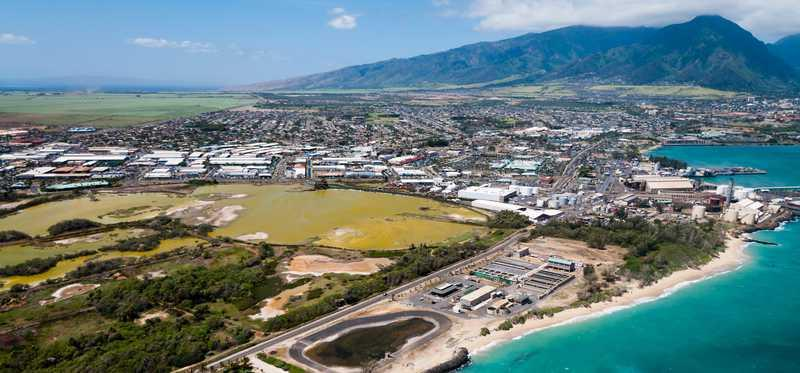 Aerial beach view of Wailuku, Hawaii.