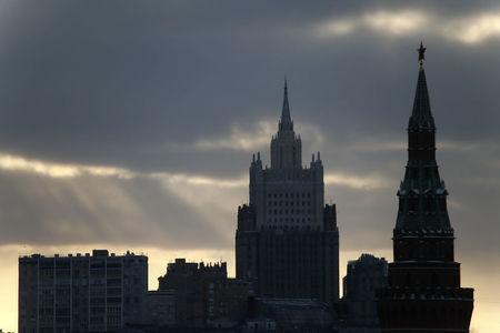 FILE PHOTO: A view shows a tower of the Kremlin and the Foreign Ministry headquarters in Moscow