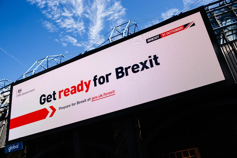 A 'Get ready for Brexit' billboard, part of a huge government information campaign, lights up an advertising screen on Westminster Bridge Road in London, England, on September 17, 2019. (Photo by David Cliff/NurPhoto via Getty Images)