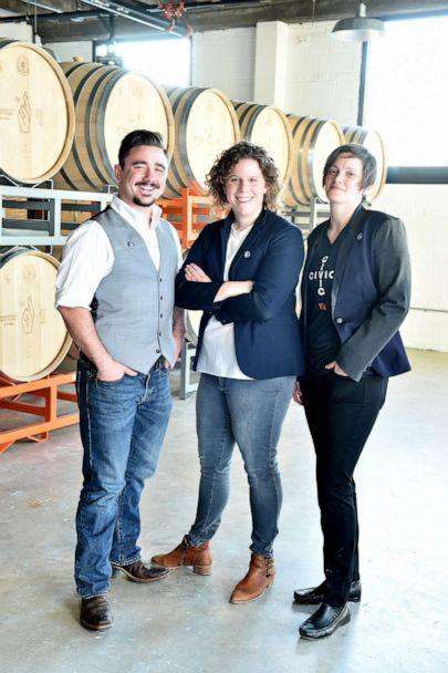 PHOTO: Pia Carusone, middle, is co-owner of Republic Restoratives Distillery, one of the few women-owned distilleries in the U.S. She employs 30 workers at the business in Washington, D.C. (Courtesy Pia Carusone )