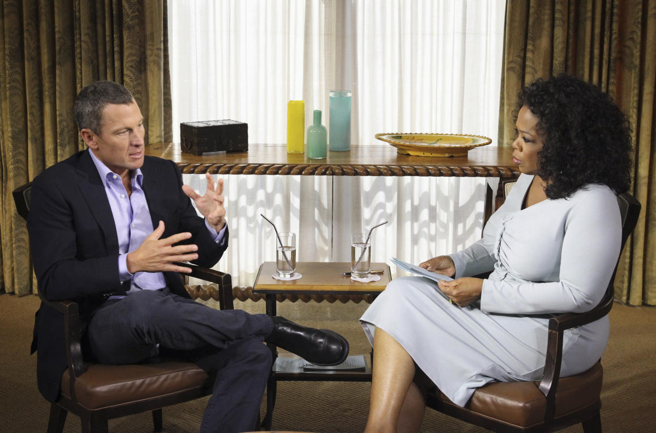 "This Monday, Jan. 14, 2013 photo provided by Harpo Studios Inc., shows talk-show host Oprah Winfrey interviewing cyclist Lance Armstrong during taping for the show ""Oprah and Lance Armstrong: The Worldwide Exclusive"" in Austin, Texas. The two-part episode of ""Oprah's Next Chapter"" will air nationally Thursday and Friday, Jan. 17-18, 2013. (AP Photo/Courtesy of Harpo Studios, Inc., George Burns)"