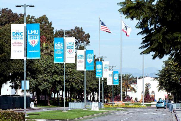 PHOTO: Signage for the sixth Democratic presidential candidates' debate at Loyola Marymount University in Los Angeles is seen, Dec. 15, 2019. (Brian Cahn/Zuma Press)