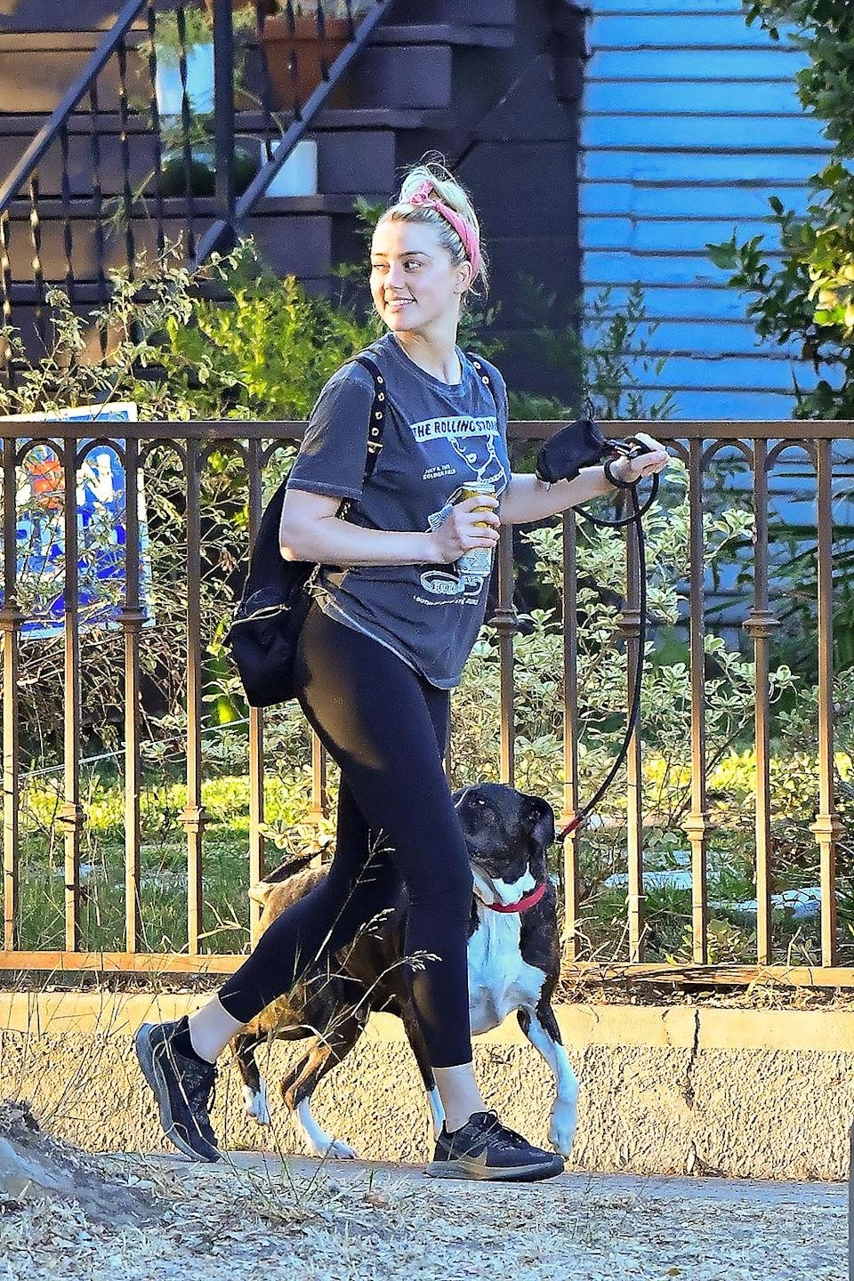 <p>Amber Heard was spotted enjoying a walk in Los Angeles with her dog.</p>