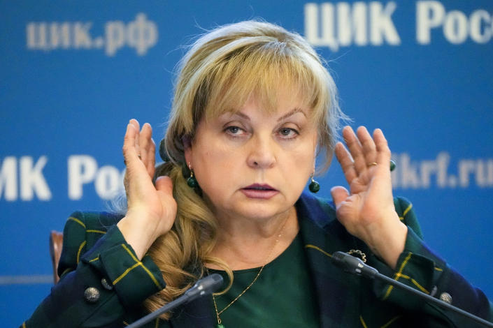 Ella Pamfilova, head of Russian Central Election Commission, gestures while speaking after the Parliamentary elections at the Russian Central Election commission in Moscow, Russia, Friday, Sept. 24, 2021. Politicians and activists who lost to Kremlin-backed candidates in Russia's parliamentary election last weekend have formed a coalition to contest the results from online voting in Moscow, which they believe was rigged and blame for their defeat. (AP Photo/Alexander Zemlianichenko)