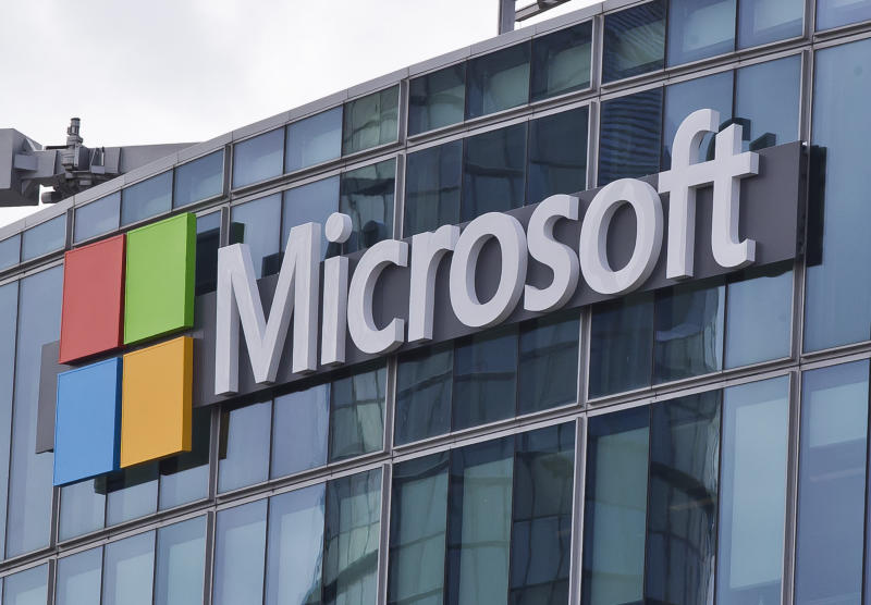 FILE - This April 12, 2016 file photo shows the Microsoft logo in Issy-les-Moulineaux, outside Paris, France. The Pentagon has awarded Microsoft a $10 billion cloud computing contract called JEDI, Friday, Oct. 25, 2019. The contentious bidding process for the contract pitted Microsoft, Amazon and Oracle, among others, against one another. (AP Photo/Michel Euler, File)