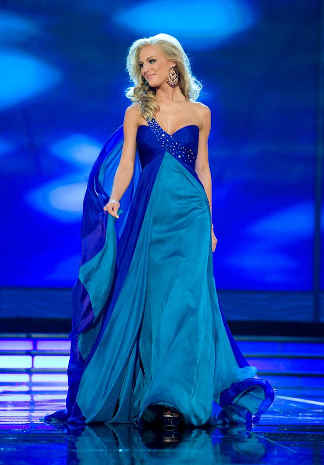 Kristen Dalton, Miss USA 2009, competes as a top 10 finalist in an evening gown of her choice during the 58th annual Miss Universe competition from Atlantis, Paradise Island, Bahamas.
