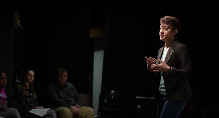 Kaja Dunn teaches an acting class at UNC Charlotte. Dunn, an assistant professor of acting in UNCC's Department of Theatre, recently received a Kennedy Center honor for her work addressing racial issues in theater education.