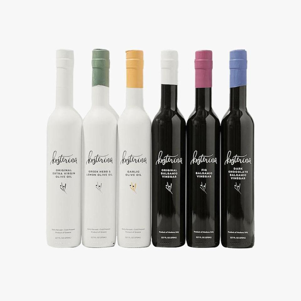"""Kosterina offers some of the best olive oil (cold-pressed in Greece) and vinegar (balsamic from Modena, Italy). To try them all, they offer a subscription service to ensure you never run out of the goodness. $135, Kosterina. <a href=""""https://www.kosterina.com/collections/evoo/products/olive-oil-balsamic-vinegar-gift-box?variant=32441392594980"""" rel=""""nofollow noopener"""" target=""""_blank"""" data-ylk=""""slk:Get it now!"""" class=""""link rapid-noclick-resp"""">Get it now!</a>"""