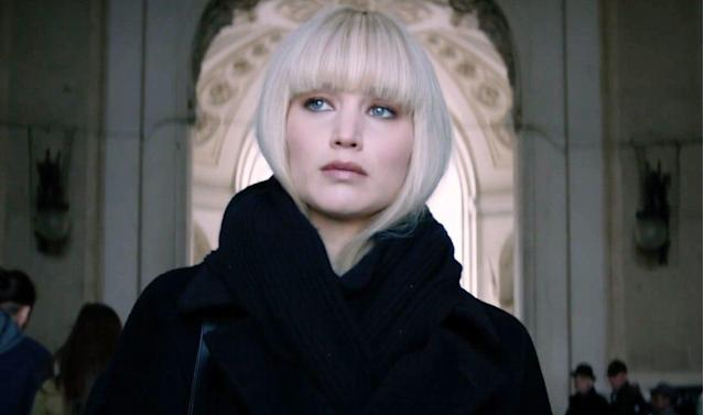 People are stupefied by how Jennifer Lawrence goes from dark hair to platinum blond with just one box of color in <em>Red Sparrow</em>. (Photo: 20th Century Fox)