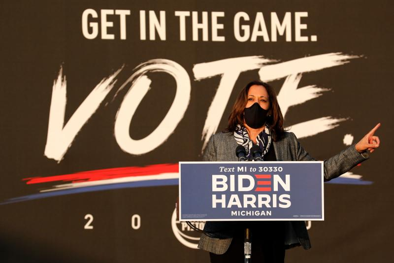 Democratic Vice Presidential candidate Senator Kamala Harris (D-CA) speaks at the Detroit Pistons Practice Facility in Detroit, Michigan on September 22, 2020. (Photo by JEFF KOWALSKY / AFP) (Photo by JEFF KOWALSKY/AFP via Getty Images)