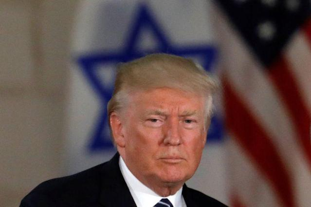 President Trump, near an Israeli flag at the Israel Museum in Jerusalem last month. (Photo: Ronen Zvulun/Reuters)