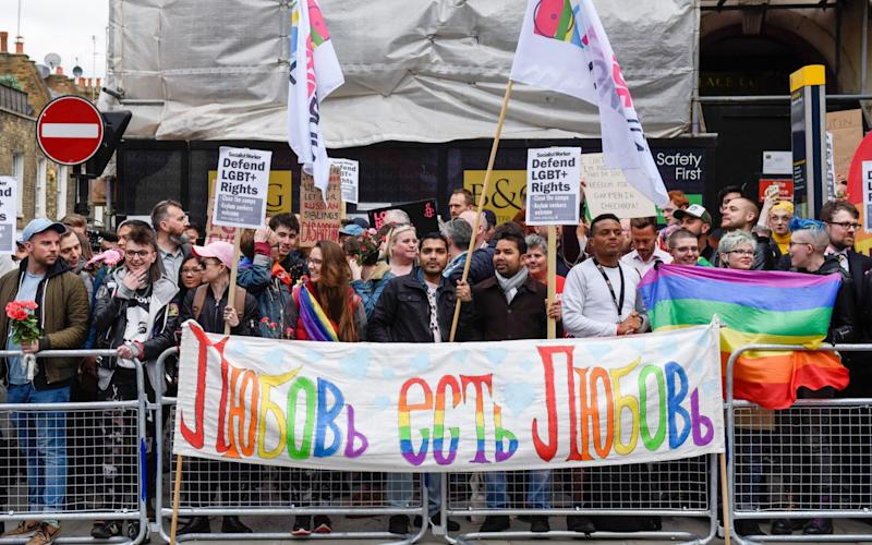 A protest gainst the treatment of homosexuals in Chechnya outside the Russian Embassy in London on April 12 - Credit: Alamy