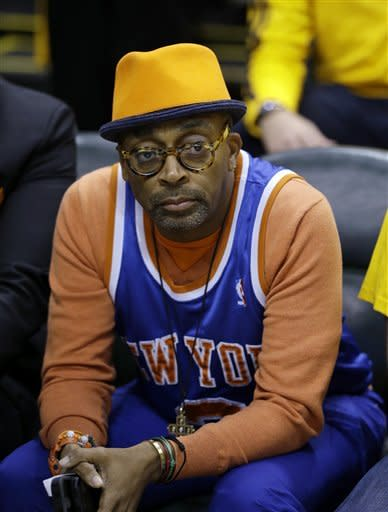 Spike Lee watches the first half of Game 3 of an Eastern Conference semifinal NBA basketball playoff series game between the Indiana Pacers and the New York Knicks in Saturday, May 11, 2013, in Indianapolis. (AP Photo/Darron Cummings)