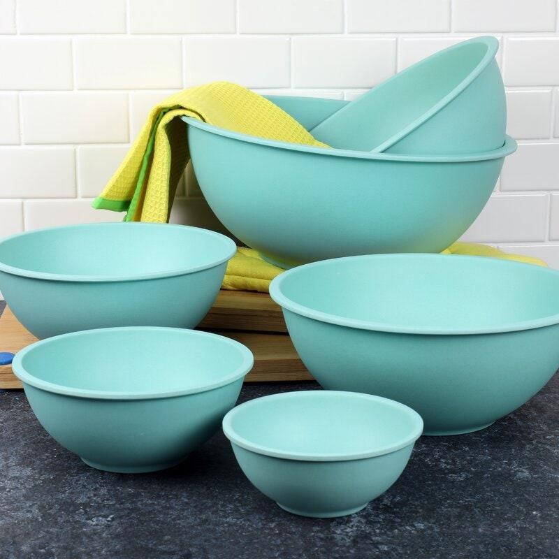 """This dishwasher-safe bamboo mixing bowl set is made of 60 to 70 percent bamboo fiber powder. This means that when you eventually toss them, they're biodegradable. (Less stuff filling up landfills—hooray!) But there's more to love about Chef Craft's nesting bowls than their earth-friendly composition: They're easy to store, sturdy yet lightweight, and fridge- and freezer-safe. They're also wide enough to work no matter how you're mixing—by hand or with a hand-held mixer. $53, Wayfair. <a href=""""https://www.wayfair.com/kitchen-tabletop/pdp/chef-craft-6-piece-bamboo-mixing-bowl-set-dsfj1001.html"""" rel=""""nofollow noopener"""" target=""""_blank"""" data-ylk=""""slk:Get it now!"""" class=""""link rapid-noclick-resp"""">Get it now!</a>"""