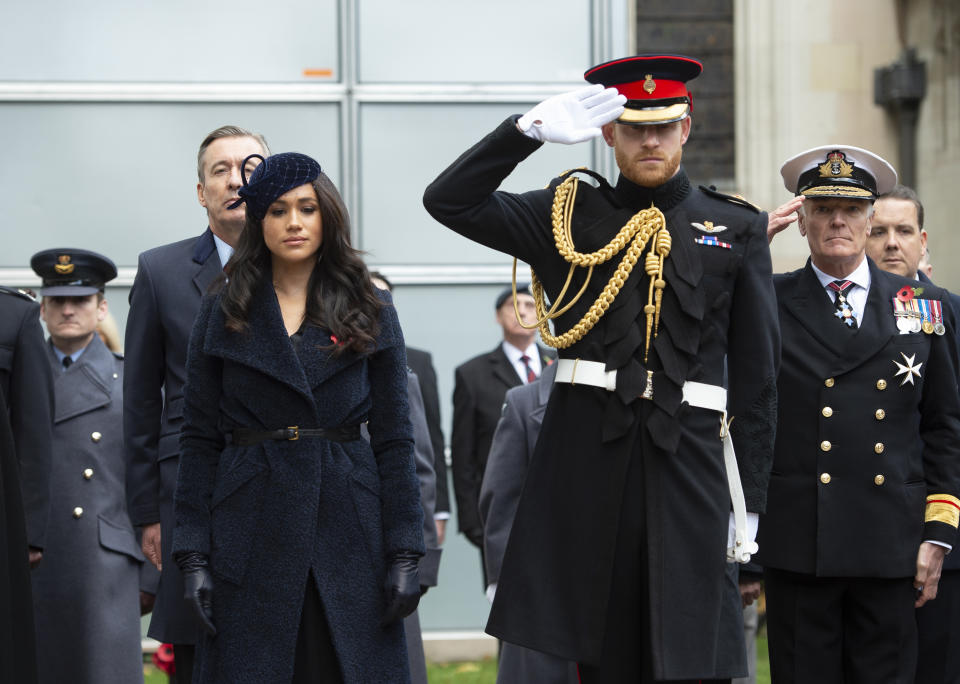 rince Harry, Duke of Cambridge and Meghan, Duchess of Sussex meet veterans and soldiers as they attend the 91st Field of Remembrance at Westminster Abbey on November 7, 2019 in London, England.
