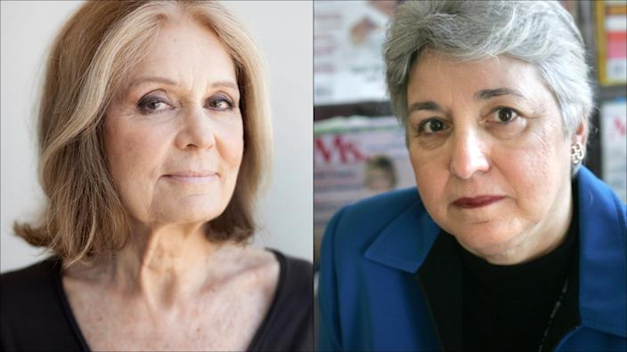 A diptych of Gloria Steinem and Eleanor Smeal.