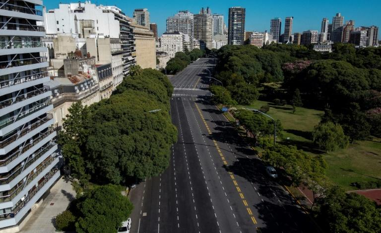 Aerial view of the empty Libertador avenue in Buenos Aires, on March 20, 2020 -- the city has recorded about 70 percent of Argentina's coronavirus cases