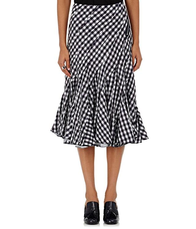 "<p>Gingham seersucker knee-length skirt, $970, <a href=""http://www.barneys.com/product/tricot-comme-des-garcons-gingham-seersucker-knee-length-skirt-504789459.html?utm_source=polyvore&utm_medium=affiliate&utm_campaign=desktop_knee%20length%20skirts"" rel=""nofollow noopener"" target=""_blank"" data-ylk=""slk:barneys.com"" class=""link rapid-noclick-resp"">barneys.com</a> </p>"