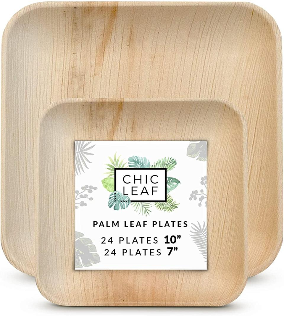 "<br><br><strong>Chic Leaf Store</strong> Palm Leaf Disposable Bamboo Plates, $, available at <a href=""https://www.amazon.com/Chic-Leaf-Disposable-Compostable-Biodegradable/dp/B07STV49K3/ref=sr_1_5"" rel=""nofollow noopener"" target=""_blank"" data-ylk=""slk:Amazon"" class=""link rapid-noclick-resp"">Amazon</a>"