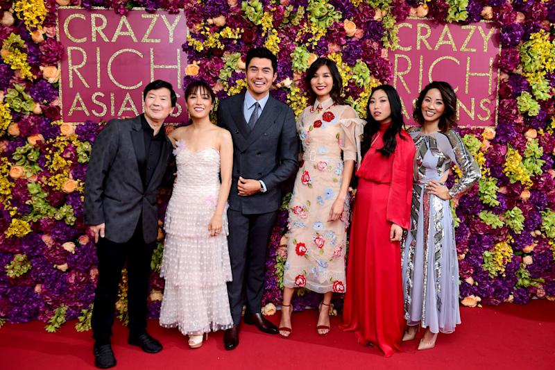 """Several """"Crazy Rich Asians"""" cast members at the movie's London premiere earlier this month. (Photo: Ian West - PA Images via Getty Images)"""