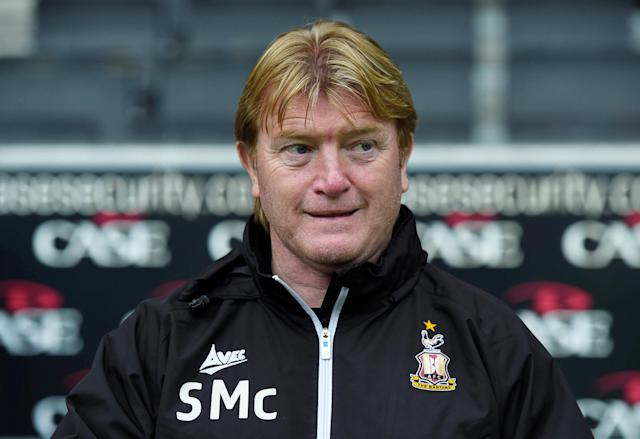 "Soccer Football - League One - Milton Keynes Dons vs Bradford City - Stadium MK, Milton Keynes, Britain - October 7, 2017 Bradford City manager Stuart McCall Action Images/Alan Walter EDITORIAL USE ONLY. No use with unauthorized audio, video, data, fixture lists, club/league logos or ""live"" services. Online in-match use limited to 75 images, no video emulation. No use in betting, games or single club/league/player publications. Please contact your account representative for further details."