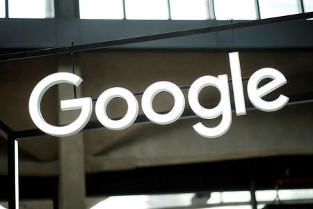 """The Google logo is seen at the """"Station F"""" start up campus in Paris, France, February 15, 2018. REUTERS/Benoit Tessier/Files"""
