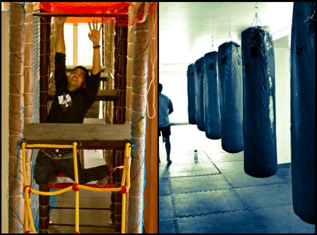 "<p class=""MsoNormal"">A custom-built obstacle course and punching bags line the interiors at Hyper Monkey Fitness.</p>"