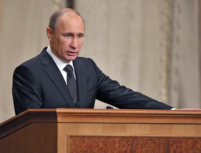"Russian President Vladimir Putin addresses senior military officials in Moscow on Wednesday, Feb. 27, 2013. Russian President Vladimir Putin has called on the country's top brass to deliver a drastic upgrade of the armed forces in the next three years to fend off attempts from abroad to ""tip the strategic balance"" in the world. (AP Photo/RIA Novosti, Alexei Nikolsky, Presidential Press Service)"