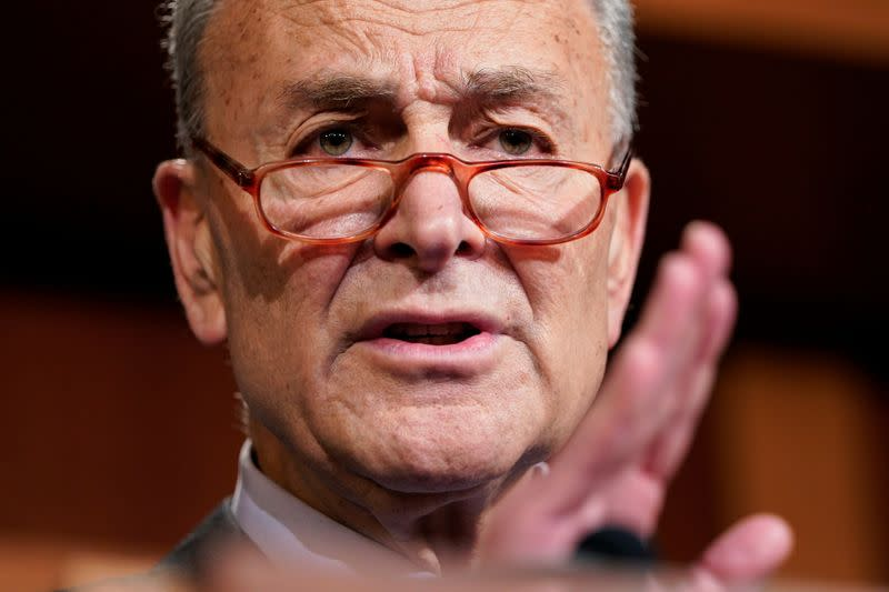 Senate Minority Leader Schumer speaks after the Trump impeachment trial ended for the day in Washington.