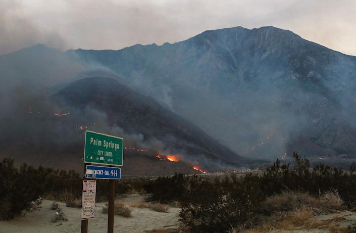 The Snow Fire burns above the small community of Snow Creek in Palm Springs, September 17, 2020.