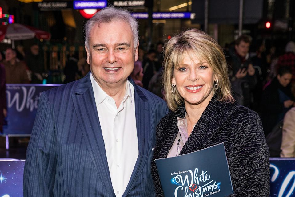 LONDON, UNITED KINGDOM, NOVEMBER 25, 2019: Eamonn Holmes and Ruth Langsford attend the White Christmas Musical press night at the Dominion Theatre.- PHOTOGRAPH BY Phil Lewis / Echoes Wire/ Barcroft Media (Photo credit should read Phil Lewis / Echoes Wire / Barcroft Media via Getty Images)