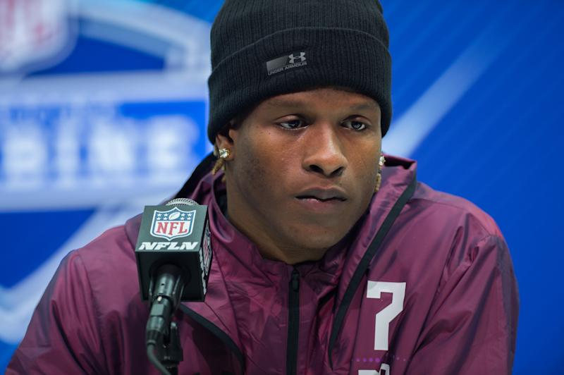 INDIANAPOLIS, IN - MARCH 01: West Virginia running back Justin Crawford answers questions from the media during the NFL Scouting Combine on March 1, 2018 at the Indiana Convention Center in Indianapolis, IN. (Photo by Zach Bolinger/Icon Sportswire via Getty Images)