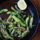 """Sautéed shishitos are absolutely the best thing to nibble on with drinks—can we suggest a <a href=""""https://www.epicurious.com/ingredients/drink-other-stuff-and-tonic-article?mbid=synd_yahoo_rss"""" rel=""""nofollow noopener"""" target=""""_blank"""" data-ylk=""""slk:sherry-and-tonic"""" class=""""link rapid-noclick-resp"""">sherry-and-tonic</a>?—and they're truly easy to prepare. Padrón peppers can be treated exactly the same way, but you may get a few more hot ones. <a href=""""https://www.epicurious.com/recipes/food/views/sauteed-shishito-peppers-summers-best-new-bite-51153400?mbid=synd_yahoo_rss"""" rel=""""nofollow noopener"""" target=""""_blank"""" data-ylk=""""slk:See recipe."""" class=""""link rapid-noclick-resp"""">See recipe.</a>"""