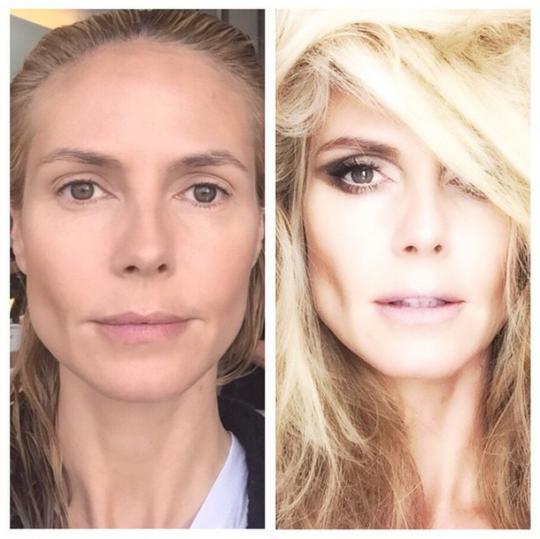 Heidi Klums Before After Makeup Transformation