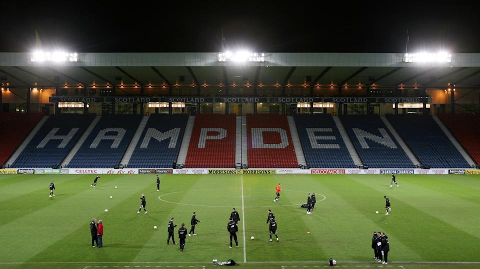 General view of the Hampden Park stadium during a training session of the Swiss soccer squad in Glasgow, Scotland February 28. 2006. REUTERS/Pascal Lauener