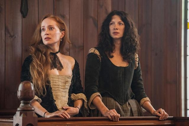 Geillis and Claire on trial for witchcraft in Season 1 of 'Outlander' (Photo: Neil Davidson/Starz/Courtesy Everett Collection)