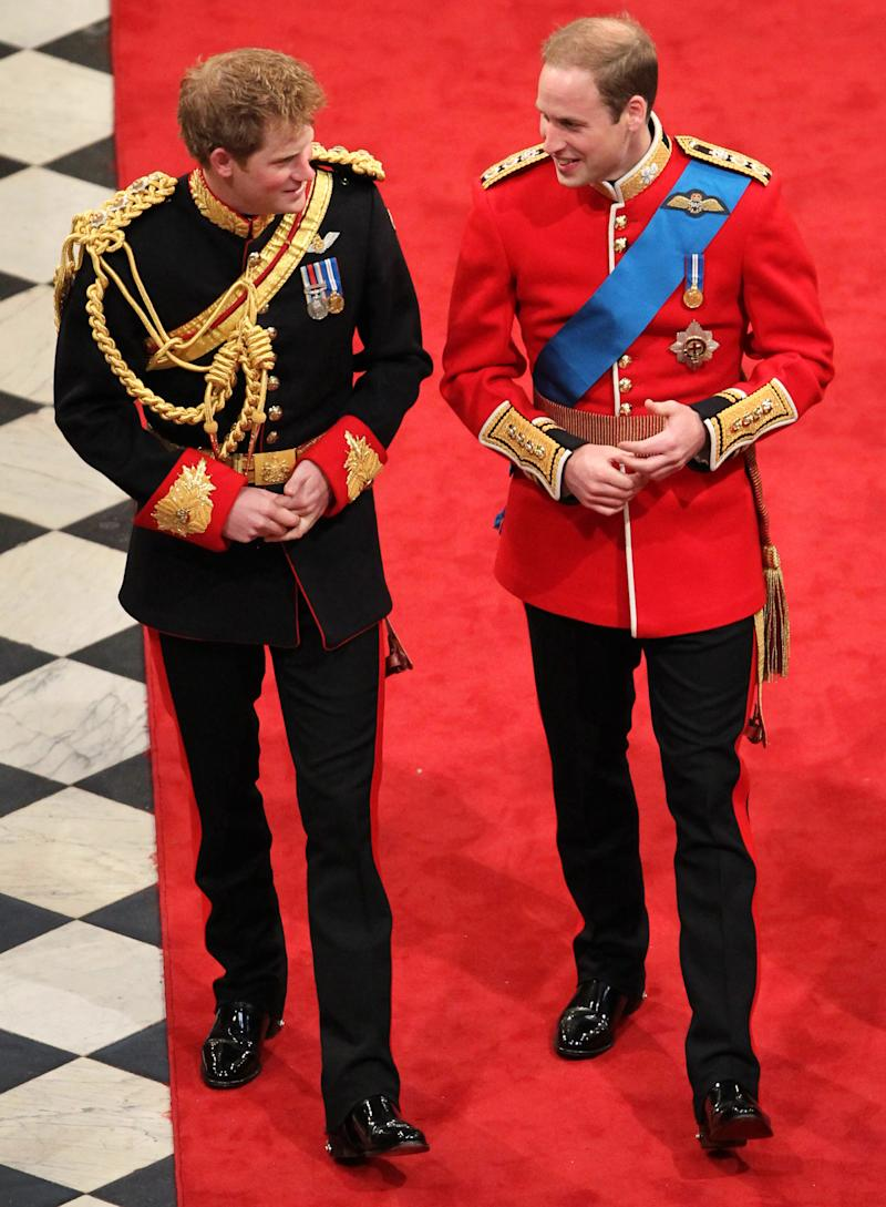 Prince Harry and Prince William at Westminster Abbey, London, for the wedding of William and Catherine Middleton.