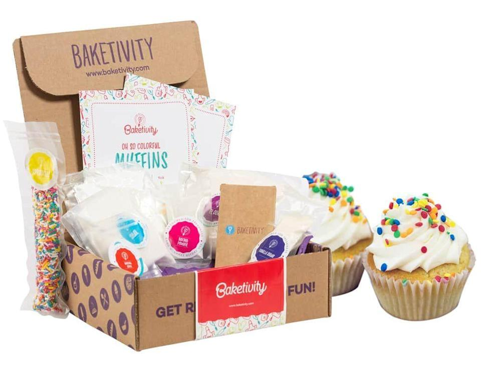 """<p><strong>Baketivity</strong></p><p>baketivity.com</p><p><strong>$32.95</strong></p><p><a href=""""https://go.redirectingat.com?id=74968X1596630&url=https%3A%2F%2Fbaketivity.com%2Fproduct%2Ffunfetti-muffins-baking-kit%2F&sref=https%3A%2F%2Fwww.delish.com%2Fkitchen-tools%2Fcookware-reviews%2Fg33132892%2Fbest-cooking-kits-for-kids%2F"""" rel=""""nofollow noopener"""" target=""""_blank"""" data-ylk=""""slk:BUY NOW"""" class=""""link rapid-noclick-resp"""">BUY NOW</a></p><p>Some kids are more bakers than chefs. For a child who's always excited about getting dessert ready, Baketivity is your perfect match. Available in recipe specific boxes (like this one) or monthly subscriptions, their kits come with easy-to-follow recipes, kids activity books, <em>and</em> parceled out ingredients.</p>"""