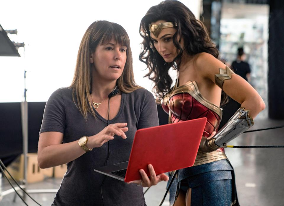 Patty Jenkins on set with Gal Gadot in costume as Wonder Woman