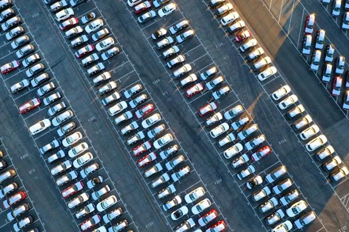 Los Angeles, California-June 24, 2021-Recently Imported cars are parked after being unloaded in the Port of Los Angeles. They will be trucked. or put on trains, to be transported around the country. (Carolyn Cole / Los Angeles Times)