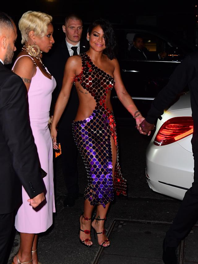 <p>Cassie might have worn a suit on the red carpet but she slipped into somethig more revealing to attend the after parties. (Photo: Splash News) </p>